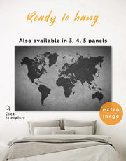 Abstract Grey World Map Wall Art Canvas Print