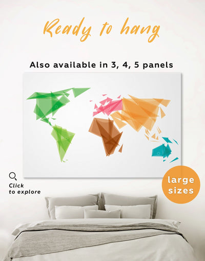 Abstract Map of the World Wall Art Canvas Print - 1 panel Abstract Abstract map bedroom brown