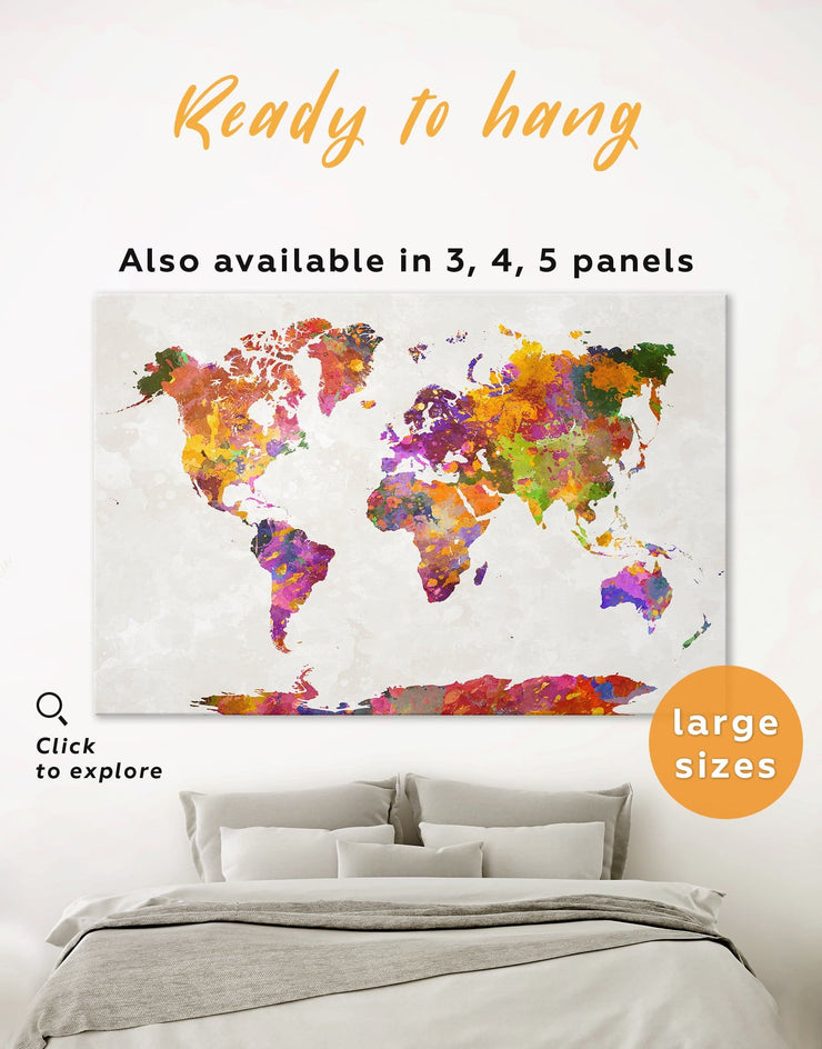 Abstract Watercolor Map Wall Art Canvas Print - 1 panel Abstract Abstract map abstract world map wall art bedroom