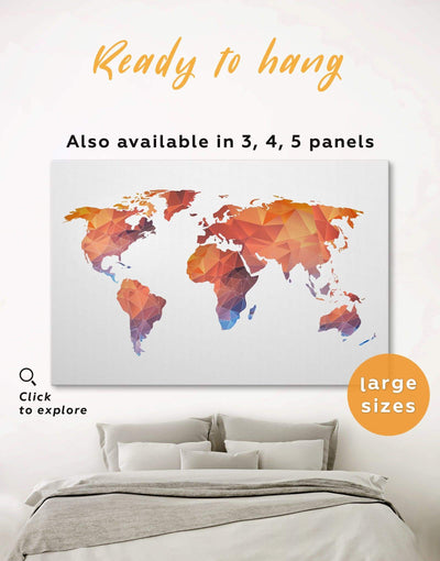 Abstract World Map Wall Art Canvas Print - 1 panel Abstract map corkboard geometric world map Living Room