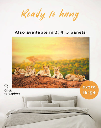African Lions Wall Art Canvas Print - 1 panel Animal Animals bedroom lion wall art