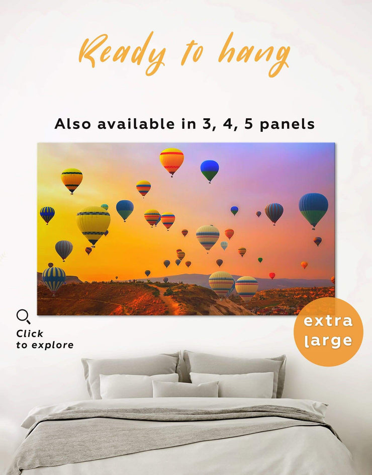Air Balloon Wall Art Canvas Print - 1 panel bedroom Dining room Hot air balloon inspirational wall art
