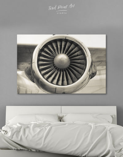 Airplane Turbine Wall Art Canvas Print - 1 panel Aviation bachelor pad bedroom Hallway