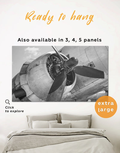 Airplane Wall Art Canvas Print - 1 panel airplane wall art Aviation bedroom black and white wall art