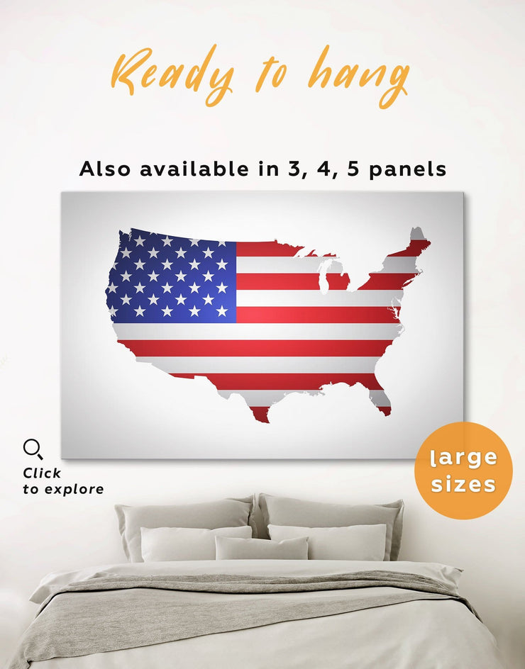 American Flag Wall Art Canvas Print - 1 panel bedroom Country Map Country Wall Art for Living Room Flag Wall Art