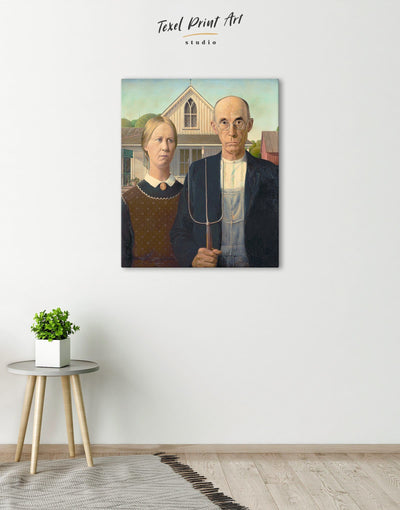 American Gothic by Grant Wood Wall Art Canvas Print - Canvas Wall Art 1 panel bedroom Grant Wood Hallway Living Room