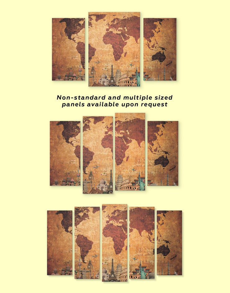 Ancient Style World Map Wall Art Canvas Print - 1 panel Abstract Abstract map bedroom Brown