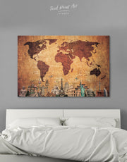 Ancient Style World Map Wall Art Canvas Print