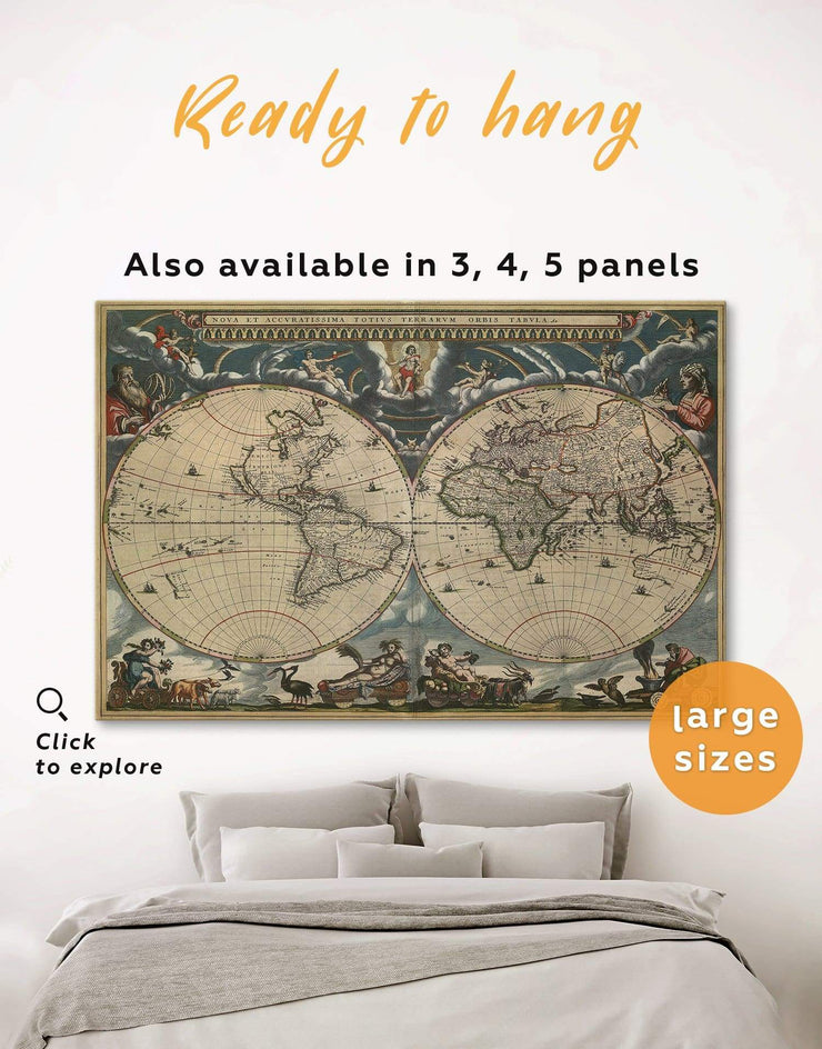 Antique Map Wall Art Canvas Print - 1 panel Antique Antique world map canvas bedroom Brown