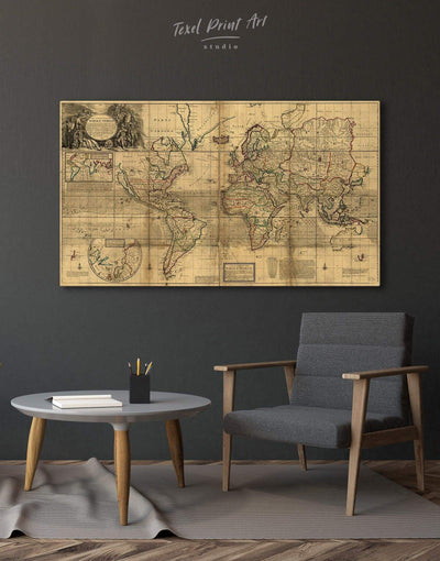 Antique Map Wall Art Canvas Print - 1 panel Antique world map canvas bedroom Brown Library