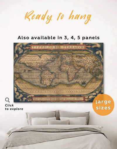 Antique World Map Wall Art Canvas Print - 1 panel Antique Antique world map canvas bedroom Hallway