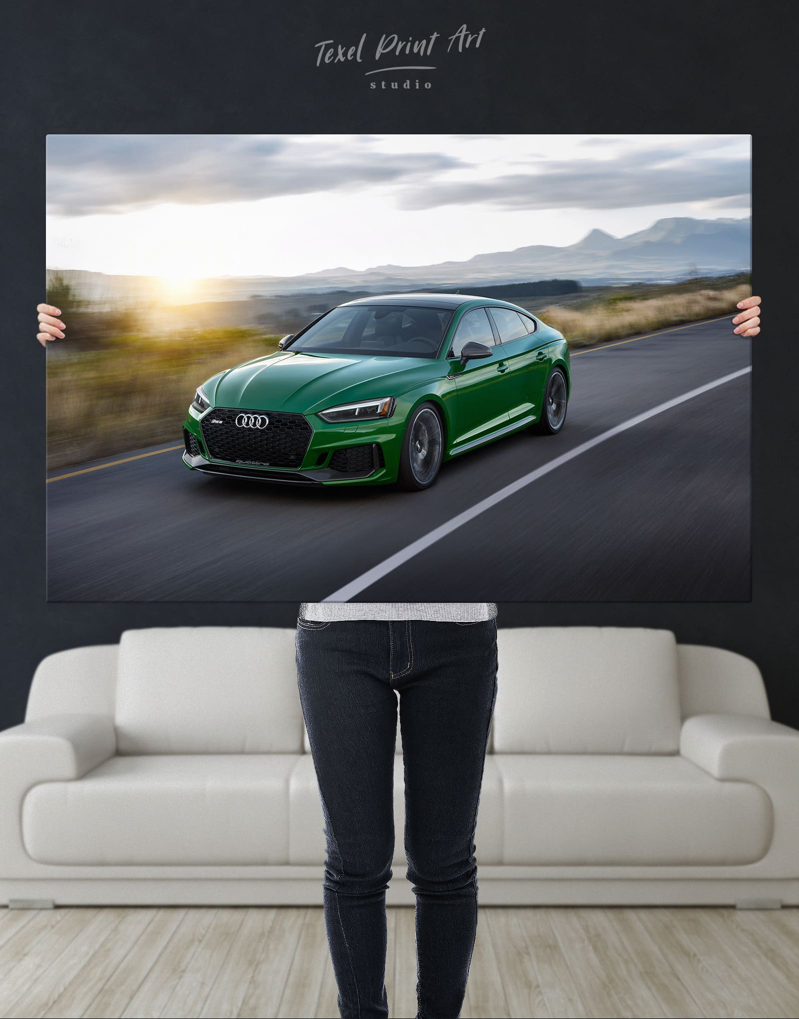 Framed Picture Print Art Audi RS5-30x20 Inch Canvas