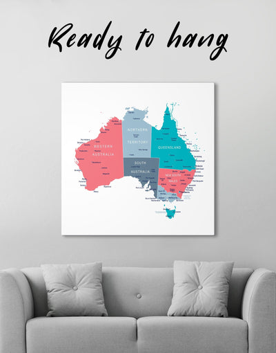 Australia Map Wall Art Canvas Print - 1 panel bedroom Country Map Hallway Living Room