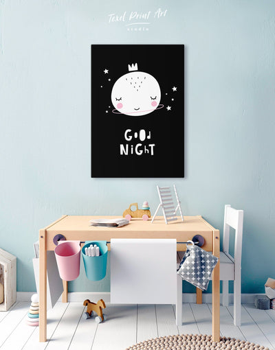 Baby Room Art Canvas Print - Canvas Wall Art 1 panel black Kids room kids wall art Nursery