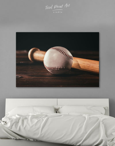 Ball and Bat Baseball Wall Art Canvas Print - 1 panel bachelor pad baseball baseball wall art bedroom