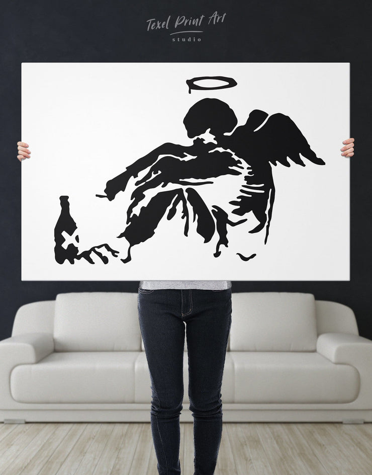 Banksys Fallen Angel Wall Art Canvas Print - 1 panel Banksy Banksy wall art bedroom Black