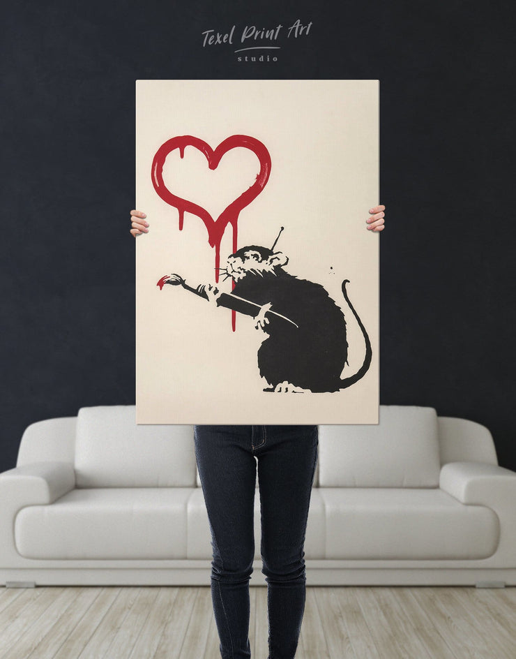 Banksys Love Rat Wall Art Canvas Print - 1 panel Banksy Banksy wall art black Contemporary