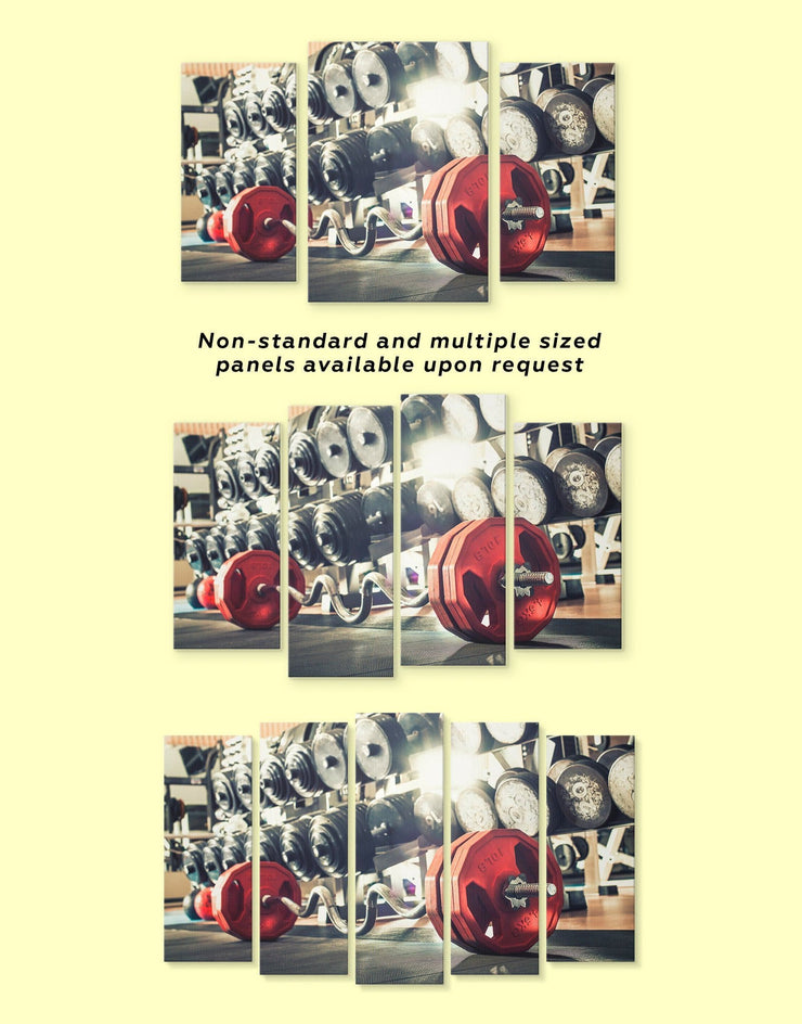 Barbell Gym Wall Art Canvas Print - 1 panel Home Gym Living Room Motivational Sports