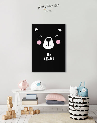 Bear Wall Art Nursery Artwork Canvas - Canvas Wall Art 1 panel black Kids room kids wall art Nursery