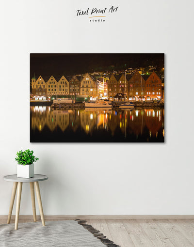 Bergen Cityscape Wall Art Canvas Print - 1 panel bedroom Brown City Skyline Wall Art Cityscape