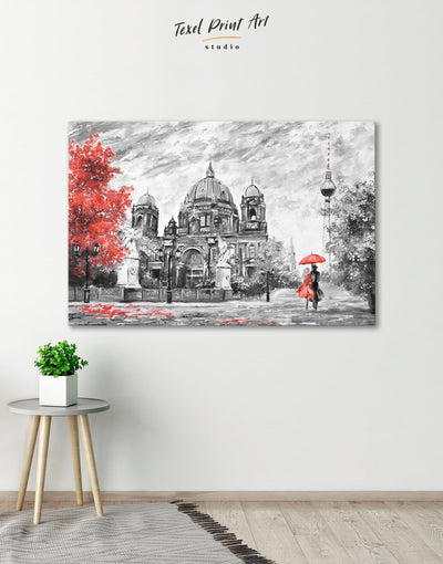 Berlin Romantic Wall Art Canvas Print - 1 panel bedroom grey Hallway Living Room