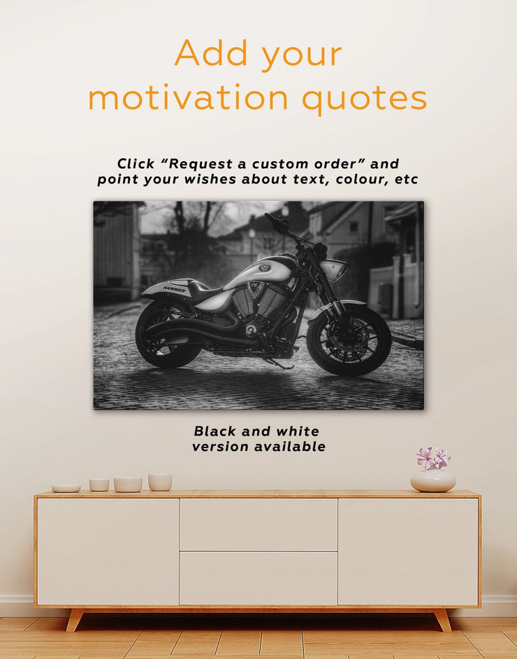 Bike Wall Art Canvas Print - 1 panel bachelor pad bedroom Hallway inspirational wall art