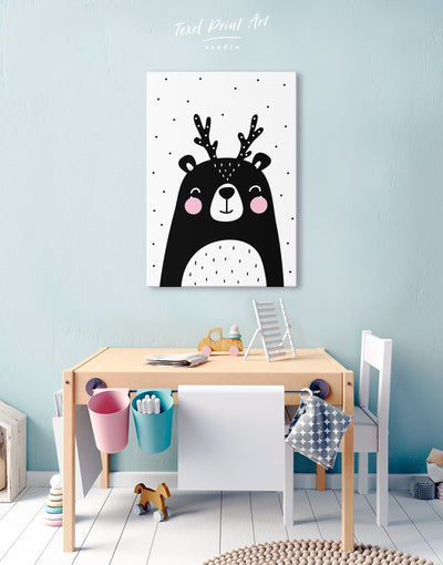 Black Bear Nursery Decor Canvas - Canvas Wall Art 1 panel black Kids room kids wall art Nursery