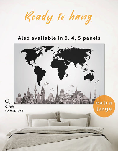 Black World Map Wall Art Canvas Print - 1 panel Abstract map black Black and white world map corkboard