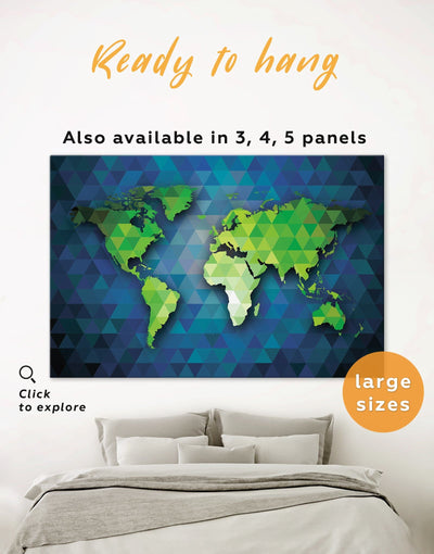Blue and Green World Map Wall Art Canvas Print - 1 panel Abstract Abstract map bedroom blue and green wall art