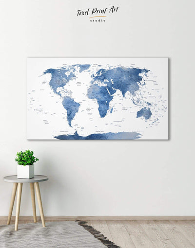 Blue and White Push Pin Map Wall Art Canvas Print - 1 panel bedroom Blue blue and white Blue wall art for living room