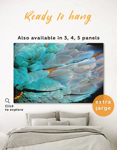 Blue Birds Feather Wall Art Canvas Print - 1 panel Animal bedroom bird wall art black and grey wall art