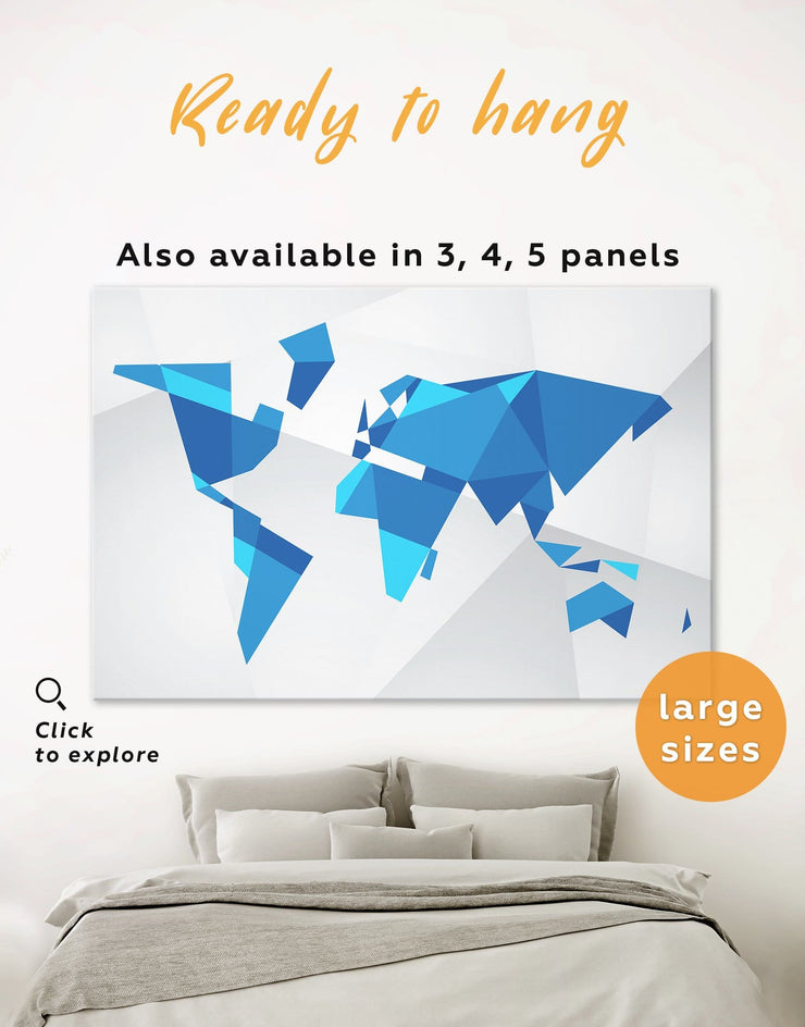Blue Geometric Map Wall Art Canvas Print - 1 panel Abstract Abstract map bedroom Blue