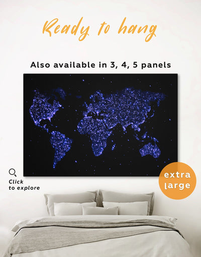 Blue Night World Map Wall Art Canvas Print - 1 panel Abstract map black blue corkboard