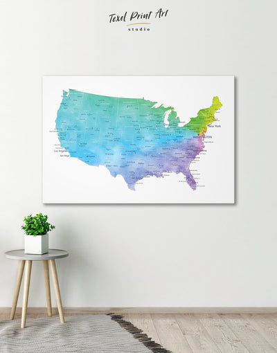 Blue USA Map Wall Art Canvas Print - 1 panel bedroom Blue contemporary wall art corkboard
