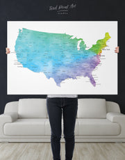 Blue USA Map Wall Art Canvas Print