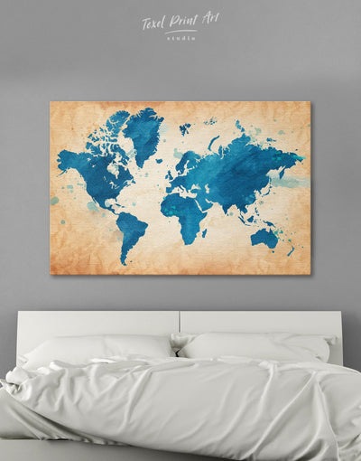 Blue Watercolor World Map Wall Art Canvas Print - 1 panel Abstract map bedroom blue Blue Abstract Wall art