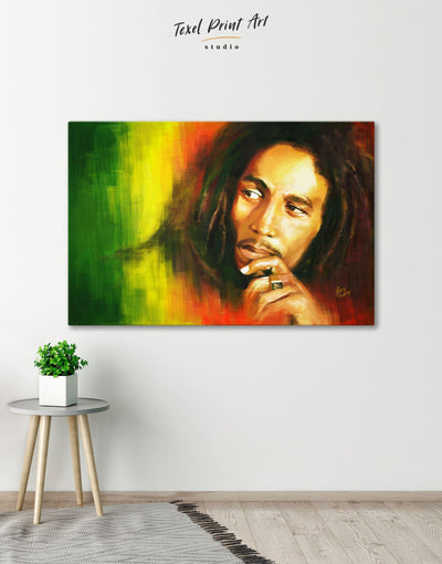 Bob Marley Wall Art Canvas Print - 1 panel bachelor pad bedroom Hallway Living Room