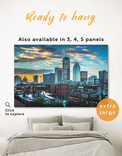 Boston City Wall Art Canvas Print - 1 panel Blue Boston City Skyline Wall Art Cityscape