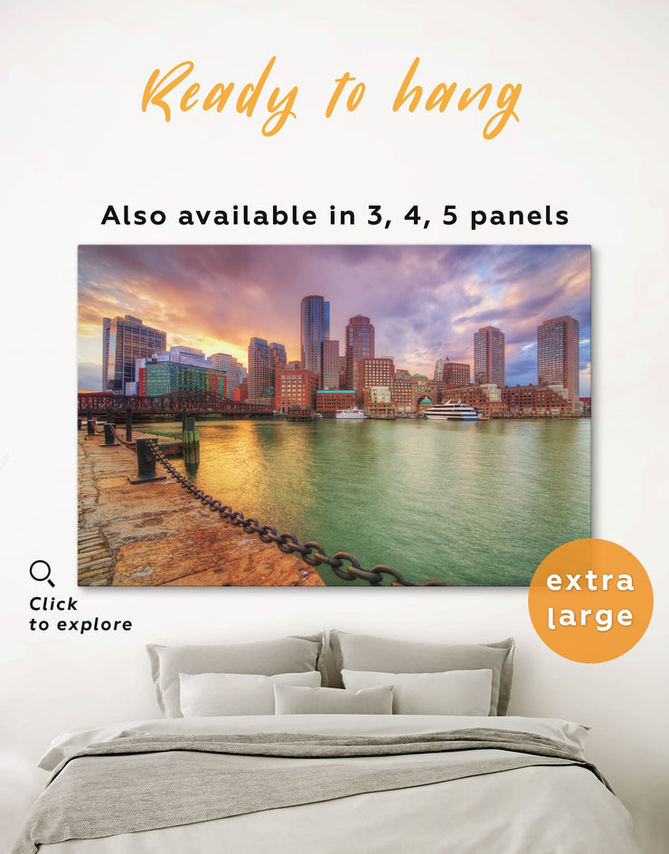 Boston Wall Art Canvas Print - 1 panel bedroom Boston Cityscape Dining room