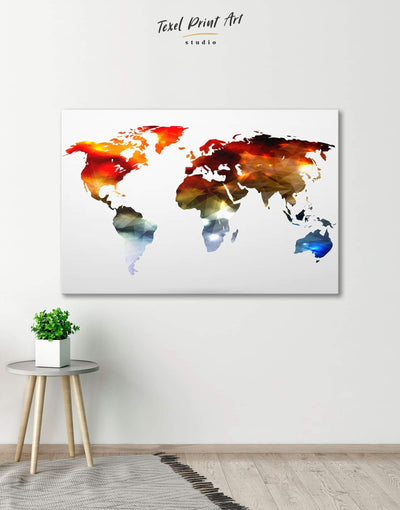 Bright World Map Wall Art Canvas Print - 1 panel Abstract map bedroom geometric world map Living Room