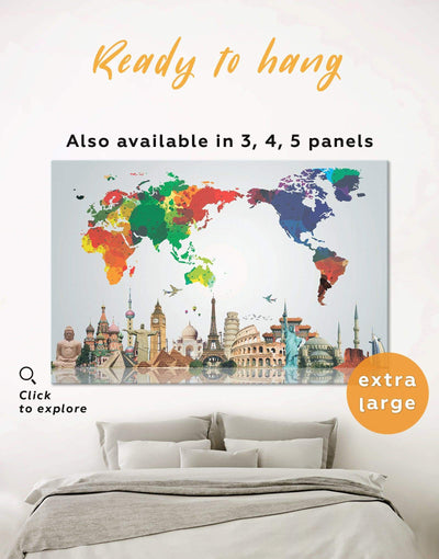 Bright World Map Wall Art Canvas Print - 1 panel Abstract map bedroom corkboard Hallway