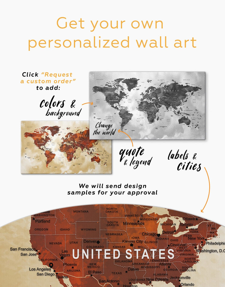 Brown Push Pin World Map Wall Art Canvas Print - 1 panel Brown contemporary wall art corkboard map of the world labeled