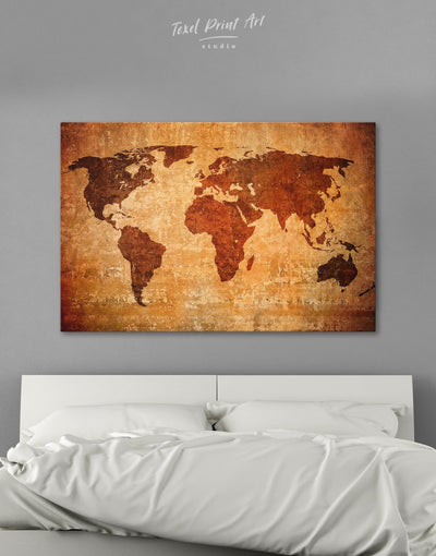 Brown Rustic World Map Wall Art Canvas Print - 1 panel Abstract Abstract map bedroom Brown