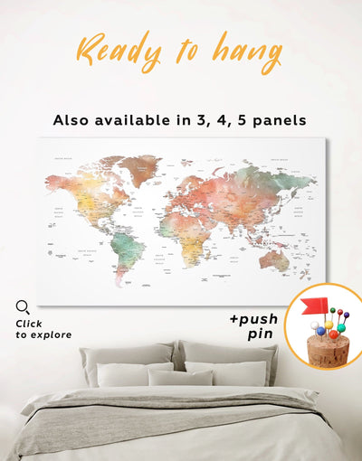 Brown Watercolor World Map Wall Art Canvas Print - 1 panel Brown corkboard Labeled world map Living Room