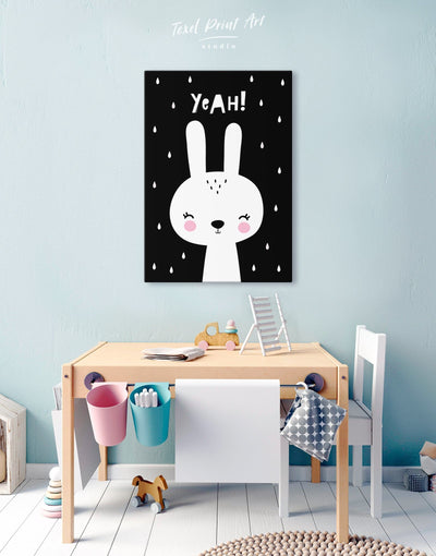 Bunny Nursery Art Canvas - Canvas Wall Art 1 panel black Kids room kids wall art Nursery