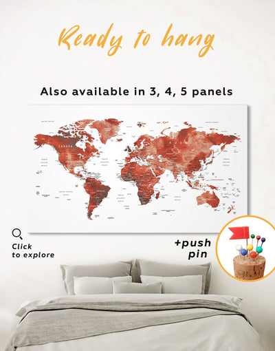 Burgundy Travel Map With Pins Wall Art Canvas Print - 1 panel bedroom contemporary wall art corkboard map of the world labeled