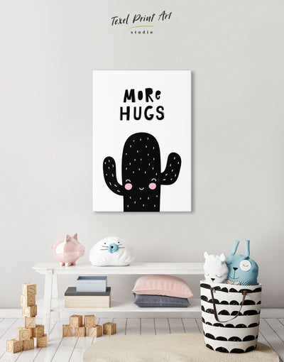 Cactus Art Nursery Wall Decor Canvas - Canvas Wall Art 1 panel black Kids room kids wall art Nursery