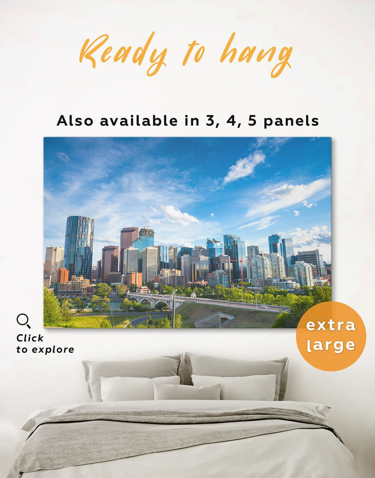 Calgary Skyline Wall Art Canvas Print - 1 panel bedroom Blue blue and green wall art City Skyline Wall Art