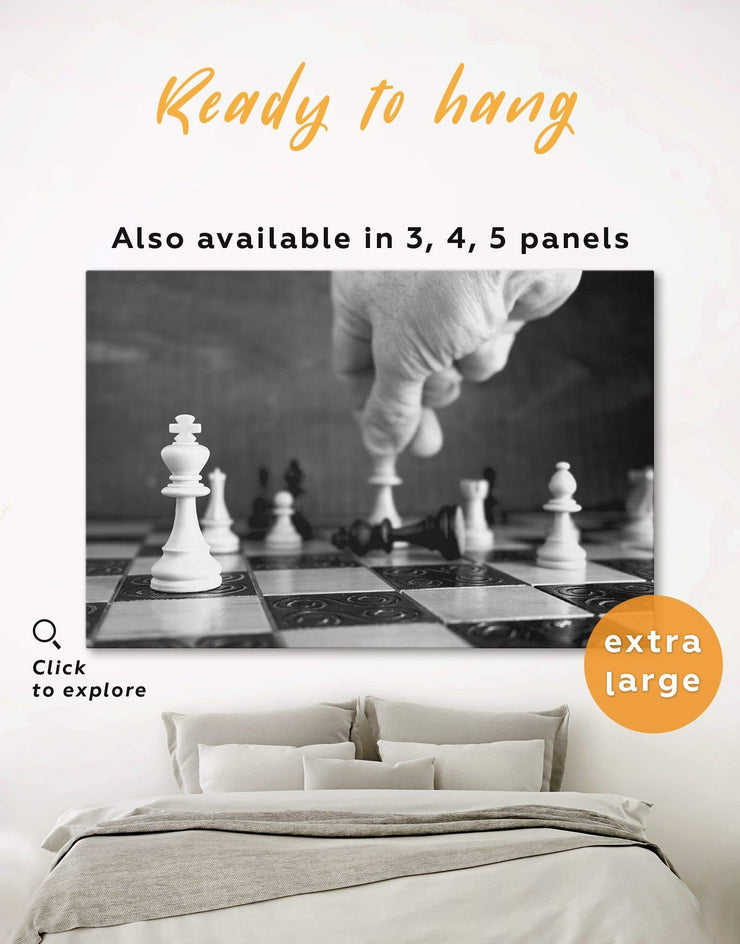 Chess Wall Art Canvas Print - 1 panel bedroom Black black and white wall art game room