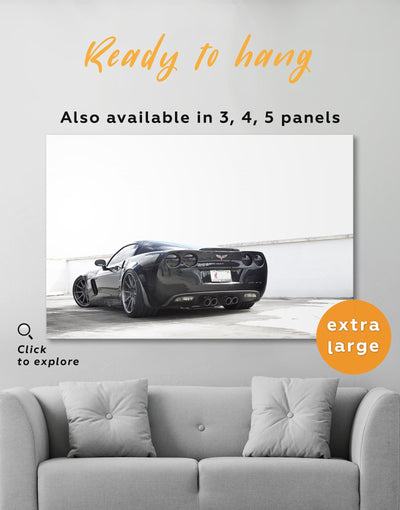 Chevrolet Corvette Wall Art Canvas Print - 1 panel bachelor pad black and grey wall art black and white wall art car